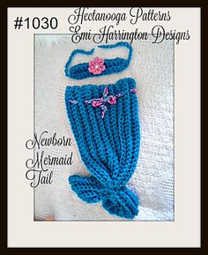 FREE CROCHET PATTERN, Baby MERMAID TAIL, set of bathing suit top and tail, top can also be used as a headband. 3 sizes included in this FREE pattern!