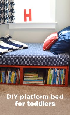 Make room for your new baby and move your toddler into a big kid bed without breaking a sweat. This DIY Platform Toddler Bed is pretty easy to put together—for a bed, anyway—and it provides the perfect toddler bedroom storage! Giving your kiddo a space to call their own will make them feel special, and it will probably make it easier for them to lie down and actually take a nap.
