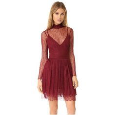 Nicholas Filigree Lace Long Sleeve Mini Dress ($600) ❤ liked on Polyvore featuring dresses, burgundy, lace mini dress, red lace dress, red dress, short red dress and long-sleeve lace dresses