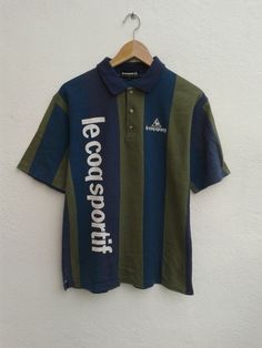 8f05f426e LE COQ SPORTIF Color Cross Stripes Bold Spell Out Vintage Rare Casual Polo  Shirt Size M