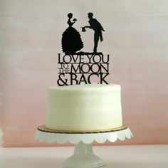 This sweet cake topper is a variation of one of our most popular cake toppers. Its very modern, but full of vintage charm, and is the perfect
