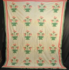 """1930's Tulips in Vase Appliqued Quilt Top Hand and Machine Sewn 96"""" x 77 1 2"""" 