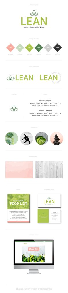 Branding board for Lauren E. Ahola Nutrition & Yoga . Wellness brand, holistic brand, nutrition brand, yoga brand, modern brand, minimalistic brand, pink, green, gray branding. #brandingboard #brandinginspo #branding #brand #brandboard #brandinspo #pink #green #gray #modern #lotus #nutritionbrand #minimalistic #simple #wellness Green Cafe, Branding Portfolio, Green Colour Palette, Brand Board, Business Card Logo, Fashion Branding, Logo Inspiration, Green And Grey, Design Projects
