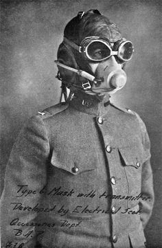 WW1: Aviator's oxygen mask in position and ready to use. Note the handwritten caption on the photo. WW1 planes could not safely fly at 10,000 ft, ceiling for deploying oxygen masks, so the development of the device looked at the future.