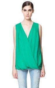 Zara Draped Top in Green (mint)