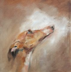 Podenco oil on canvas by Julie brunn