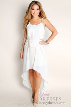 Cute Ivory White Endless Summer Flowy Solid Color High Low Spaghetti Strap Dress  Talle: M, L  Precio: $80