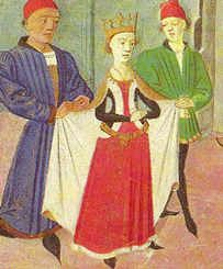 From the Hours of the Duchess de Bourgogne, c 1450  Belt OVER a sidless surcoat.