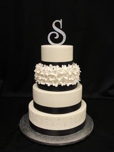 """""""Dana"""" Black & White theme Wedding Cake very elegant with blossoms, quilting, black ribbon and diamante topper - by Sugar Dreams Cakes in Noosa, Australia"""