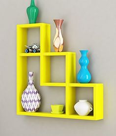 Buy Engineered Wood Wall Shelf in Yellow Colour by Home Sparkle Online - Modern Wall Shelves - Wall Shelves - Home Decor - Pepperfry Product Wooden Shelf Design, Wooden Wall Shelves, Wall Shelf Decor, Bookshelf Design, Wall Shelves Design, Floating Shelves Diy, Wooden Walls, Wood Craft Patterns, Upcycled Home Decor