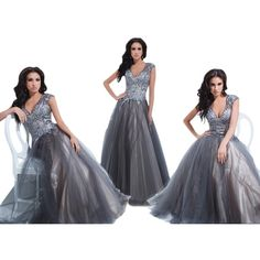 Pre-owned Tony Bowls Grey New Prom Tbe11423 Size 8 Dress ($275) ❤ liked on Polyvore featuring dresses, grey, preowned dresses, grey dress, grey cocktail dress, gray cocktail dress and tony bowls dress