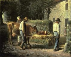 paisanos trayendo a casa a un ternero nacido en el campo . 1864 MILLET