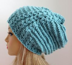PDF 124 Knitting Pattern for Slouch Hat Beanie por WomanOnTheWater