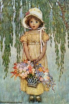 Jessie Willcox Smith, flower girl under weeping willow