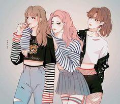 BTS Taehyung, Jimin, Jungkook as girls [fanart] 😂😍 Character Inspiration, Character Art, Character Design, Fan Art, Chibi Bts, Bts Meme, Art Et Design, Bts Girl, Bts Drawings