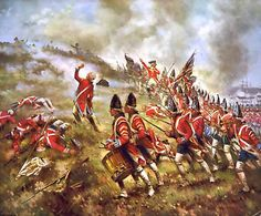 American Revolution: British grenadiers at the Battle of Bunker Hill. Rebel militia was all over Boston and New England.