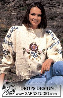 DROPS trui van Alaska met Boeket. Maat M. ~ DROPS Design