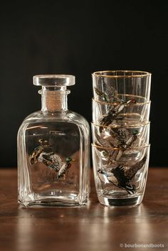 Waterfowl Decanter Set With 4 Tapered Old Fashion Glasses $74