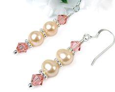 Peach Freshwater Pearl Dangles, Swarovski Crystals, Sterling Silver Hooks, Sweet and Elegant Earrings, Handmade Beaded Jewelry @prettygonzo #bmecountdown