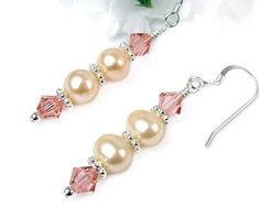 Peach Freshwater Pearl Dangles, Swarovski Crystals, Sterling Silver Hooks, Sweet and Elegant Earrings, Handmade Beaded Jewelry