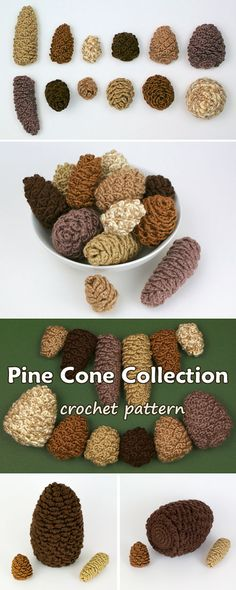 Crochet realistic pine cones in multiples sizes, shapes and colours. Beautiful idea for decorating for Fall or Winter/Christmas.