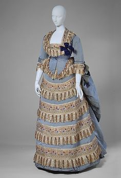 1872. Gown. Designed by Charles Worth. French. silk.  With day bodice. MET Museum.
