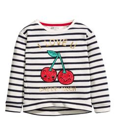 Sweatshirt med paljetter   Naturvit   BARN   H&M SE