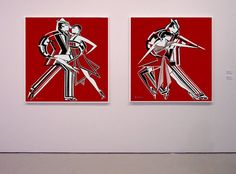 tango rojo, acrilico sobre tela, 100x100cm