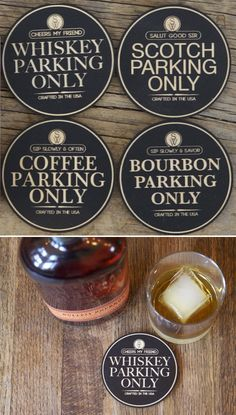 Whiskey parking only coasters. Cnc Projects, Projects To Try, Bar Coasters, Laser Engraving, Engraving Ideas, Coaster Set, Home Decor Accessories, Laser Cutting, Whiskey
