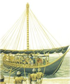 The legendary figure of THESEUS arrives at Crete with his black-sailed ship from Athens & his fellow Athenians to end the sacrifice and tribute of their lives to King Minos' Minotaur (Peter Connolly/Minoans/ Theran Ships/Plutarch/user: Aethon) Greek History, Ancient History, Ancient Greece, Ancient Egypt, Minoan Art, Sea Peoples, Bronze Age Civilization, Trojan War, Mycenaean
