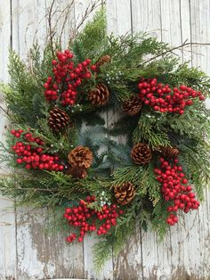 Christmas Wreath Pine Berry Winter By Designawreath Old And New Designs Pinterest Wreaths