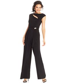 R&M Richards Wide-Leg Cutout Embellished Jumpsuit