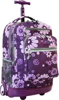 J World Sundance Rolling Backpack with Laptop Sleeve - Argyle Black Rolling Backpacks For School, Girls Rolling Backpack, Cute Suitcases, Trolley Bags, Backpack Reviews, School Bags For Girls, Thing 1, Girl Backpacks, Purple Flowers