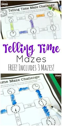 FREE Telling Time Mazes - this is such a fun, free printable math game to help kindergarten, first g Kindergarten Math Games, Math Games For Kids, Math Classroom, Fun Math, Math Help, Student Games, Abc Games, Kids Fun, Learn Math