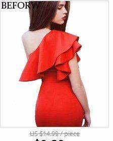 BEFORW Sexy Shoulder Flouncing Slim Casual Dress