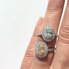 Beautiful double halo oval diamond engagement rings - now to decide between a yellow diamond or a white? I love them both!