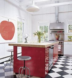 sarah jessica parker's kitchen.  large scale art + checkerboard floors + red lacquered island