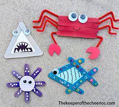 Ocean Friends Craft Sticks - The Keeper of the Cheerios Beach Crafts For Kids, Summer Crafts, Preschool Crafts, Diy Crafts For Kids, Craft Stick Projects, Craft Stick Crafts, Paper Crafts, Craft Sticks, Best Friend Crafts