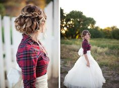 Plaid Winter Bride In Flannel, Full Tulle Skirt With Back Bow & Loosely Textured Braid Do Wedding Looks, Dream Wedding, Flannel Dress, Flannel Wedding Dress, Wedding Skirt, Red Flannel, Tulle Wedding, Flannel Shirt, Wedding Bells