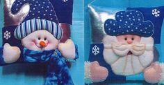 cojines navideños nieve y noel | cojines | Pinterest | Noel and Google Christmas Sewing, Blue Christmas, Felt Christmas, Christmas Holidays, Christmas Projects, Felt Crafts, Christmas Crafts, Christmas Ornaments, Elf Christmas Decorations