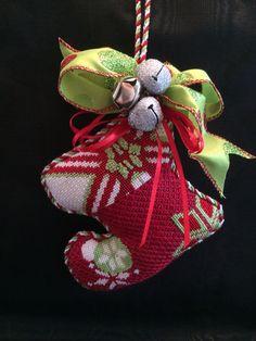 needlepoint mini-sock ornament