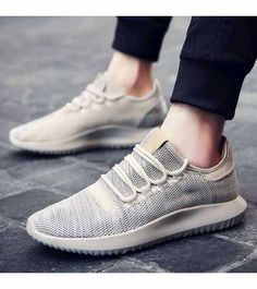 Men's #khaki flyknit sport shoe #sneakers simple design, Lace up style, casual, sport, trainers Occasions.