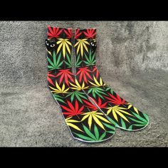 Rasta Weed Socks Men Women Crew Graphic Street Very stunning, unique and high quality Rastafarian colored Weed Leave socks, perfect for anyone! One Size - Fits Sizes 6-13 Check out my closet for some styles! Other