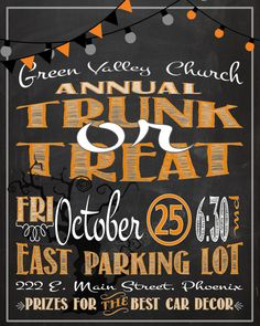 Trunk or Treat Poster / Advertisement Digital CUSTOM PRINTABLE DOWNLOAD Church School Neighborhood Halloween Activity Party Event
