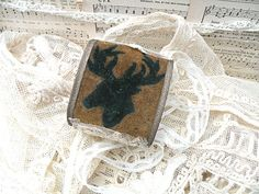 primitive textile stag cuff bracelet upcycle by lilyofthevally