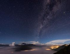 The Milky Way above the Bromo volcano Indonesia. Easy to sit there for hours and forget about everything. by chris.konig