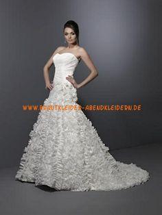 2013 Bodenlange Brautmode aus Satin A-Linie online kaufen