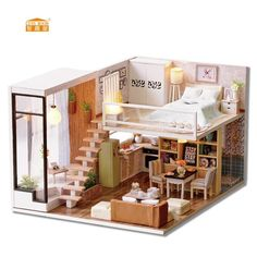 CUTE ROOM Miniature Wooden Doll House With DIY Furniture