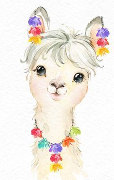 Little Llamas Watercolor animals clipart alpaca portrait Etsy Baby Llama, Cute Llama, Funny Llama, Cute Animal Illustration, Cute Animal Drawings, Animal Illustrations, Fantasy Illustration, Digital Illustration, Illustrations Posters