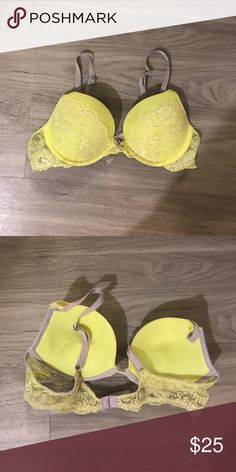 2194714b3d8 Victoria s Secret dream angels push up 36B Neon yellow with pale grey nude lace  Victoria s